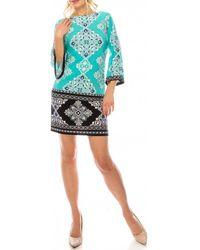Sandra Darren 72825 Printed Bell Sleeve Dress - Blue