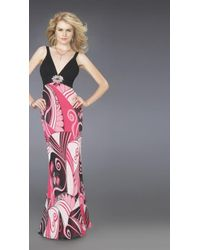 La Femme 14271 Long With Multi-colored Skirt - Pink