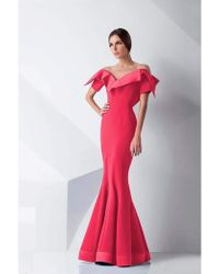 Mnm Couture - G0782 Folded Off-shoulder Mermaid Gown - 2 Pc Coral In Size 6 &12 Available - Lyst
