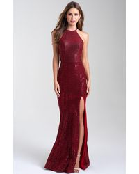 Madison James - 20-326 Halter Evening Trumpet Gown With Slit - Lyst