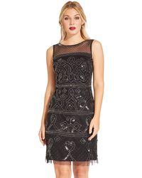 Adrianna Papell Ap1e203952 Beaded Illusion Sheath Cocktail Dress - Black