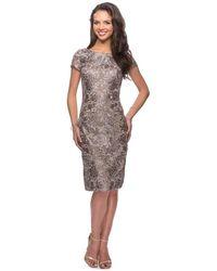 La Femme 27828 Lace Bateau Knee Length Sheath Dress - Brown