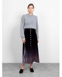 Raquel Allegra Button Front Skirt Night Ombre - Black