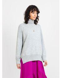 Lauren Manoogian Wide Turtleneck Sweater Light Gray