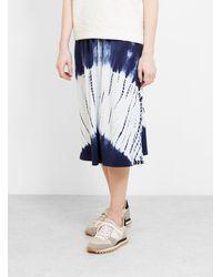 Raquel Allegra Hilma Skirt Indigo White Tie-dye - Blue