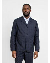 Garbstore Cordura Wool Work Jacket Navy Check - Blue