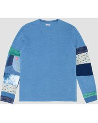 Kapital Boro Nomad Patch Long Sleeve Tee - Blue