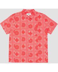 YMC Cotton Lawn Bandana Print Malick Shirt Red