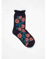 Minä Perhonen - Rosy Embroidered Socks - Lyst
