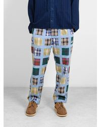 Stussy Madras Patchwork Relaxed Pant Multi Plaid - Blue