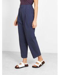 YMC Market Trousers Navy Seersucker - Blue