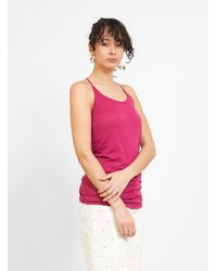 Humanoid Haim Organic Jersey Top Cassis - Multicolour
