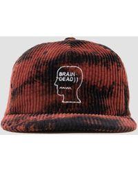 Brain Dead Bleached Cord Logo Head Hat Black - Red