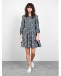 Apiece Apart Olivas Smocked Mini Dress - Blue