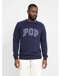 Pop Trading Company Arch Knitted Crewneck Sweater Navy - Blue