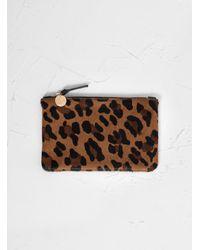 Clare V. Wallet Clutch Leopard Cognac - Brown