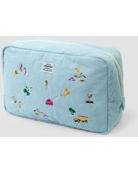 Weekend(er) - Surf Embroidered Linen Pouch - Lyst