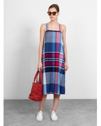 Engineered Garments Cross Back Dress Madras Plaid - Blue