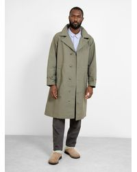 Engineered Garments Drizzler Coat Cotton Double Cloth - Green