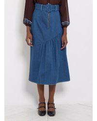 Rejina Pyo - Bonnie Belted Denim Midi Skirt - Lyst