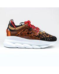 creps-locker Versace Chain Reaction Brown Leopard Sneaker - Multicolor