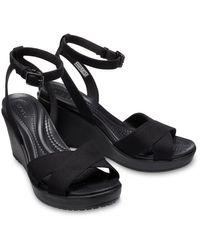 Crocs™ Leigh Ii Cross-strap Ankle Wedges - Zwart