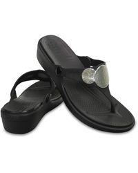 Crocs™ Sanrah Embellished Wedge Flip - Black
