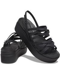 Crocs™ Brooklyn Strappy Low Wedge - Black