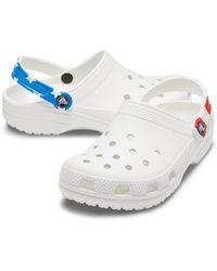 Crocs™ White/blue/red Classic Pop Strap Clog