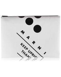 Marni Logo Pouch Bag - White