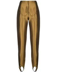 Mugler Metallic Stirrup Pants - Multicolor
