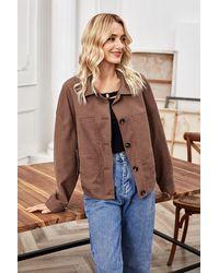 Crystal Wardrobe Drop Shoulder Button Up Suede Jacket - Brown