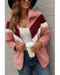 Crystal Wardrobe Chevron Zipper Up Teddy Jacket - Pink