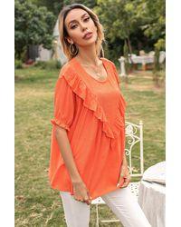 Trendsi Frill Trim Puff Sleeve Blouse - Orange