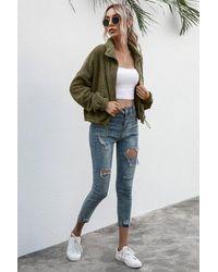 Crystal Wardrobe Drawstring Hem Zip Up Teddy Jacket - Green