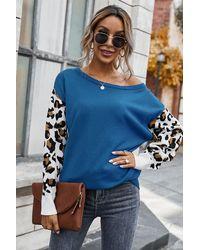 Crystal Wardrobe Leopard Long Sleeve Splicing Sweater - Blue