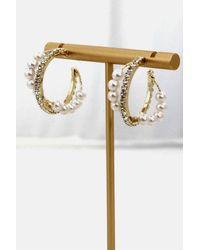 Crystal Wardrobe Gold Plated Pearl Hoop Earrings - Metallic