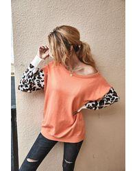 Crystal Wardrobe Leopard Long Sleeve Splicing Sweater - Orange