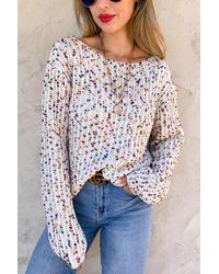 Trendsi Confetti Knot Detail Knit Sweater - Multicolor