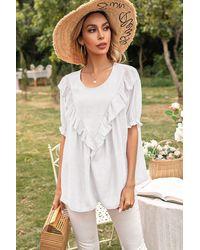 Trendsi Frill Trim Puff Sleeve Blouse - White