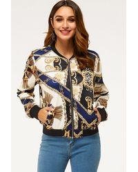 Crystal Wardrobe Scarf Print Zip-up Bomber Jacket - Yellow