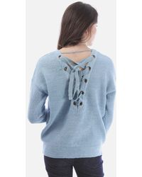 Crystal Wardrobe Sweater With Lace Up Back - Blue