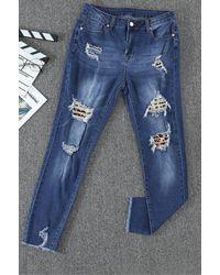 Trendsi Distressed Leopard Print Skinny Jean - Blue
