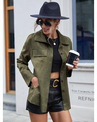 Crystal Wardrobe Button Front Turn-down Collar Jacket - Green