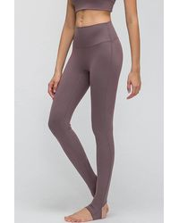 Crystal Wardrobe Stirrup Active Leggings - Purple