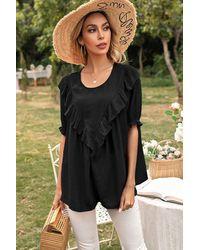 Trendsi Frill Trim Puff Sleeve Blouse - Black