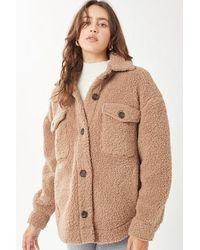 Crystal Wardrobe Love Tree Fashion Oversized Teddy Button Up Jacket - Brown