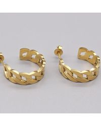 Crystal Wardrobe Chunky Chain Hoops Gold - Multicolor