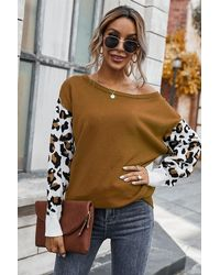 Crystal Wardrobe Leopard Long Sleeve Splicing Sweater - Brown