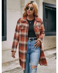 Crystal Wardrobe Plaid Longline Shirt Jacket - Orange